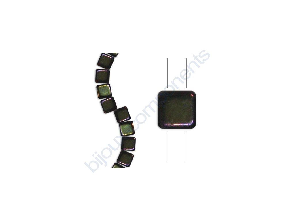 Skleněné korálky mačkané - dvoudírkové čtverečky styl Tile, černé/hnědý iris