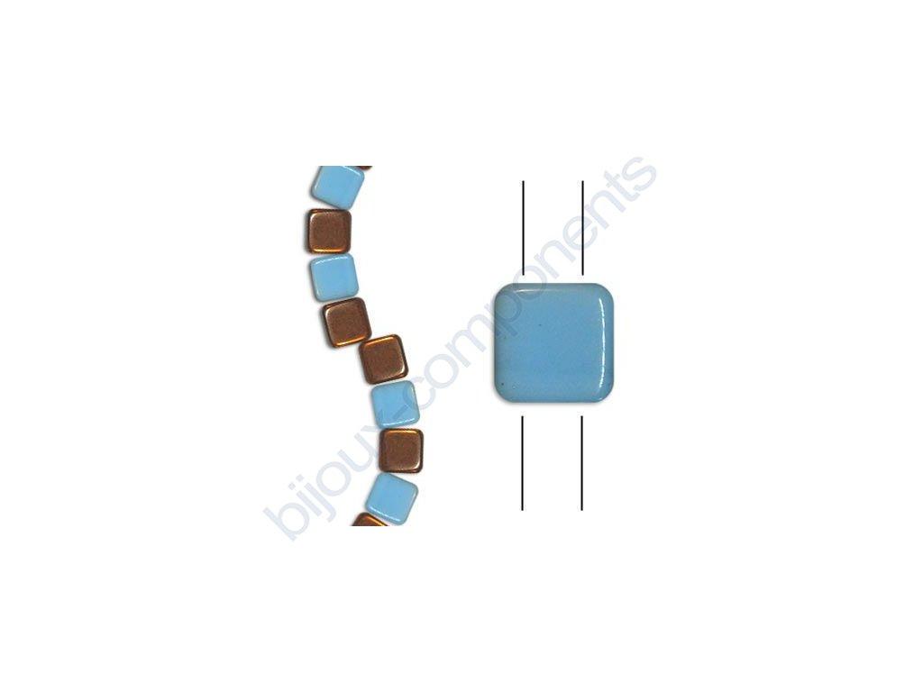 Skleněné korálky mačkané - dvoudírkové čtverečky styl Tile, světle modré/měděno-bronzový pokov