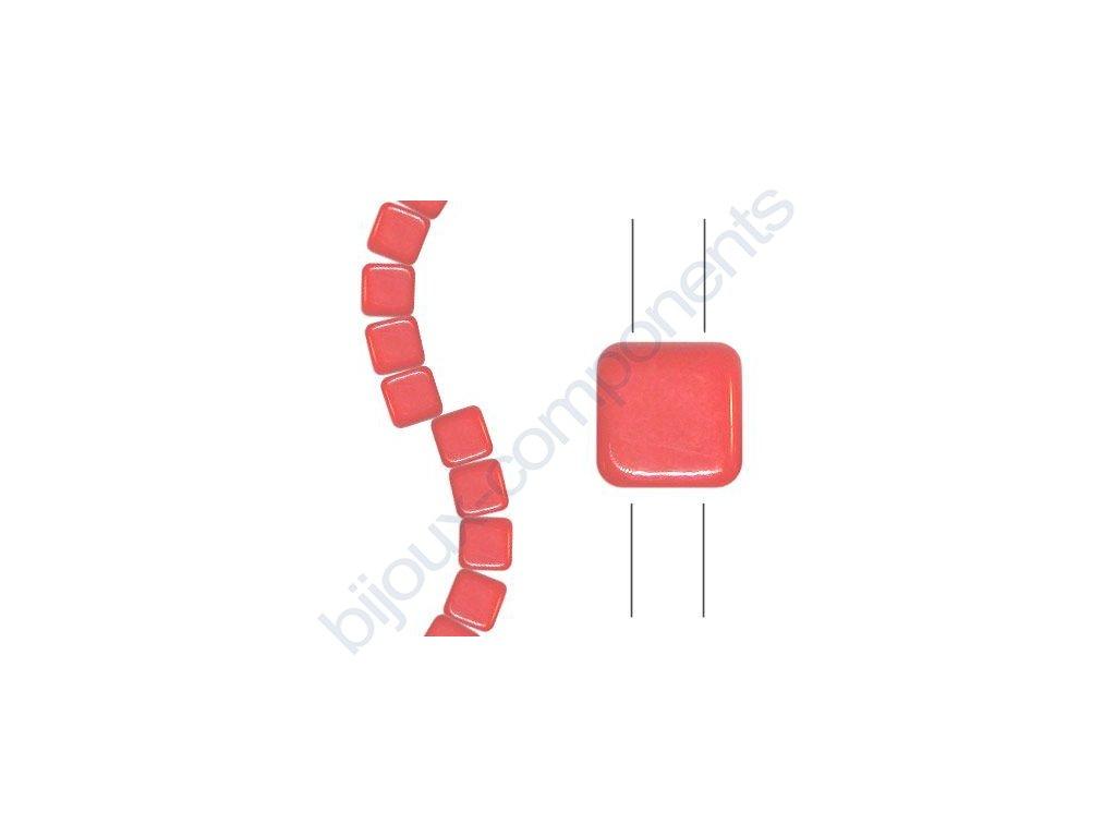 Skleněné korálky mačkané - dvoudírkové čtverečky styl Tile, oranžové