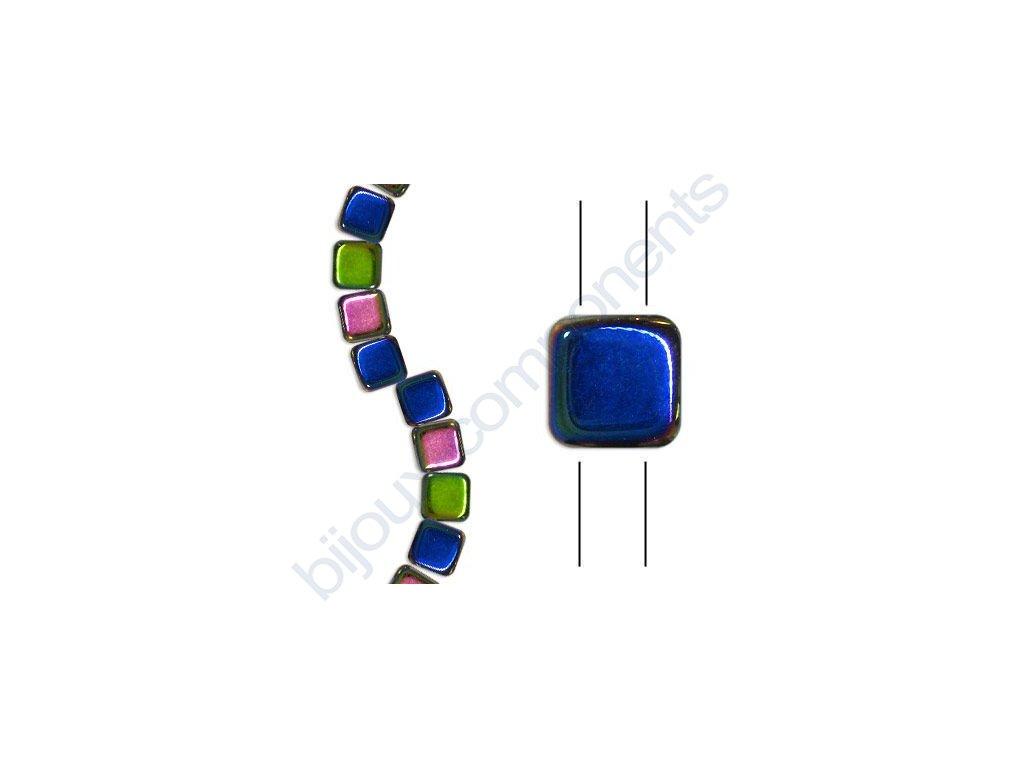 Skleněné korálky mačkané - dvoudírkové čtverečky styl Tile, krystalové/vitrail pokov
