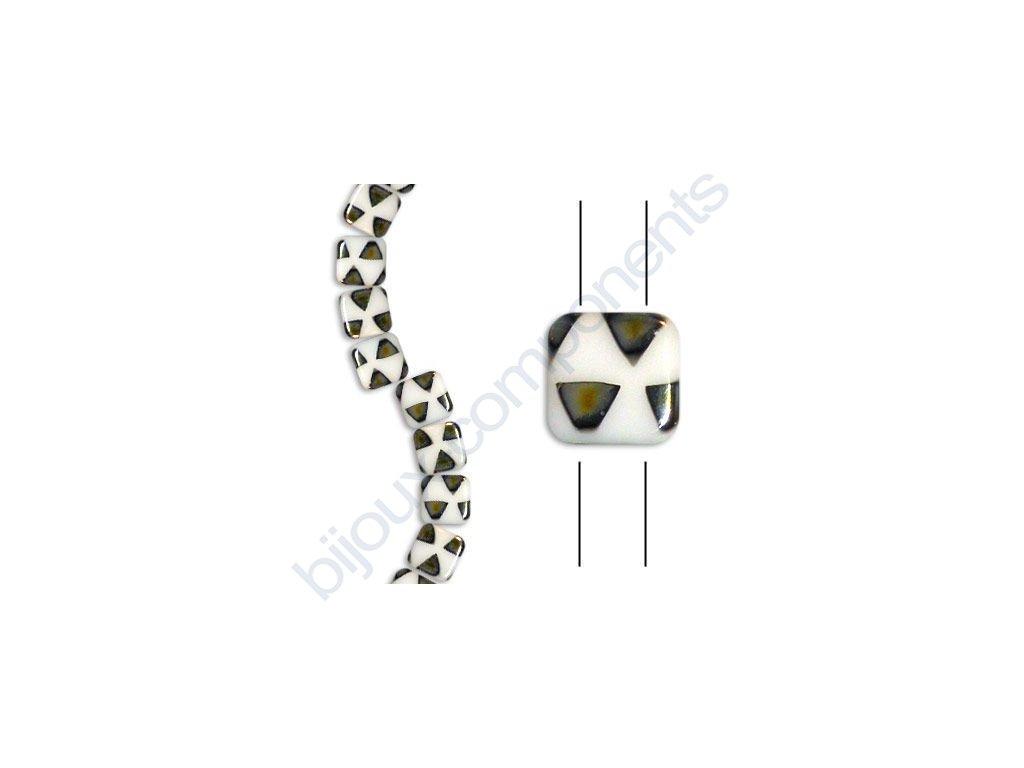 Skleněné korálky mačkané - dvoudírkové čtverečky styl Tile, bílá/trojúhelníčky