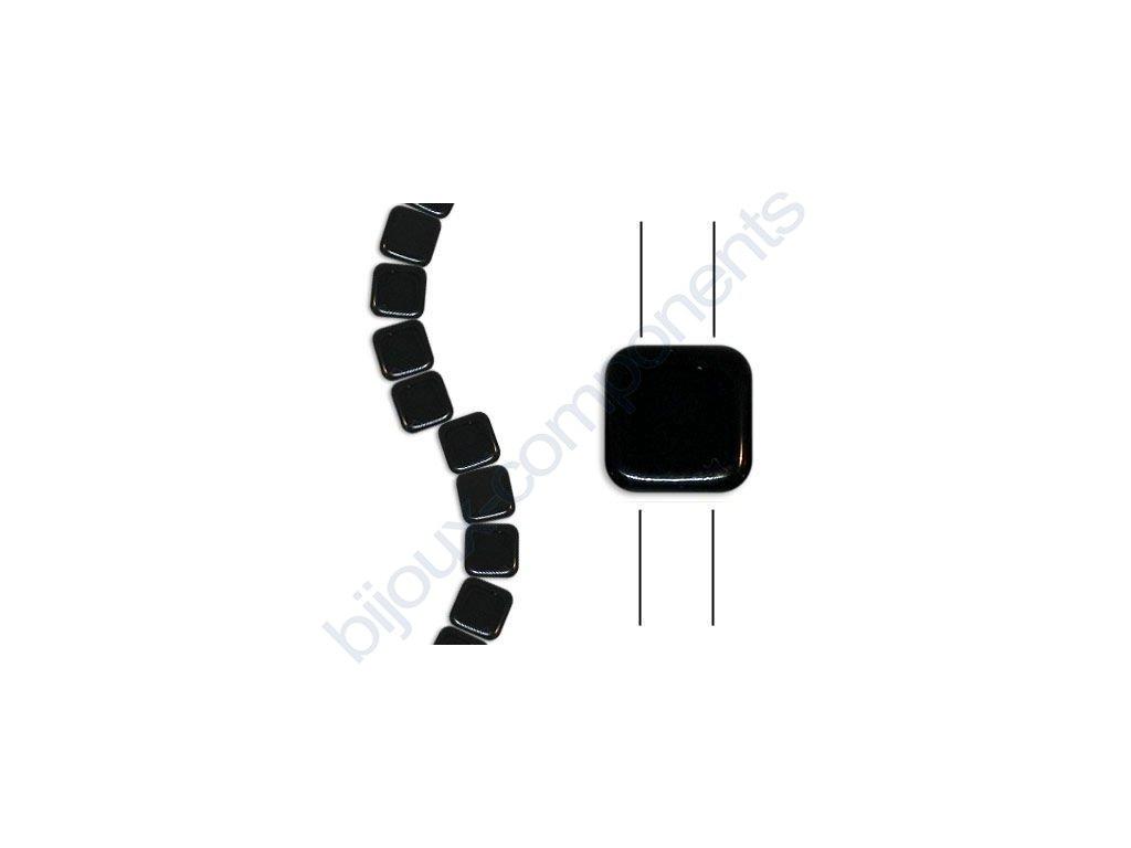 Skleněné korálky mačkané - dvoudírkové čtverečky styl Tile, černé