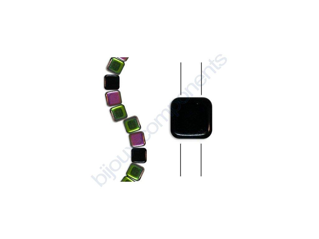 Skleněné korálky mačkané - dvoudírkové čtverečky styl Tile, černé/vitrail pokov