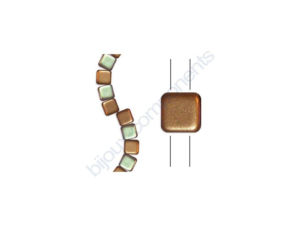 Skleněné korálky mačkané - dvoudírkové čtverečky styl Tile, růžovo-zlaté/AB