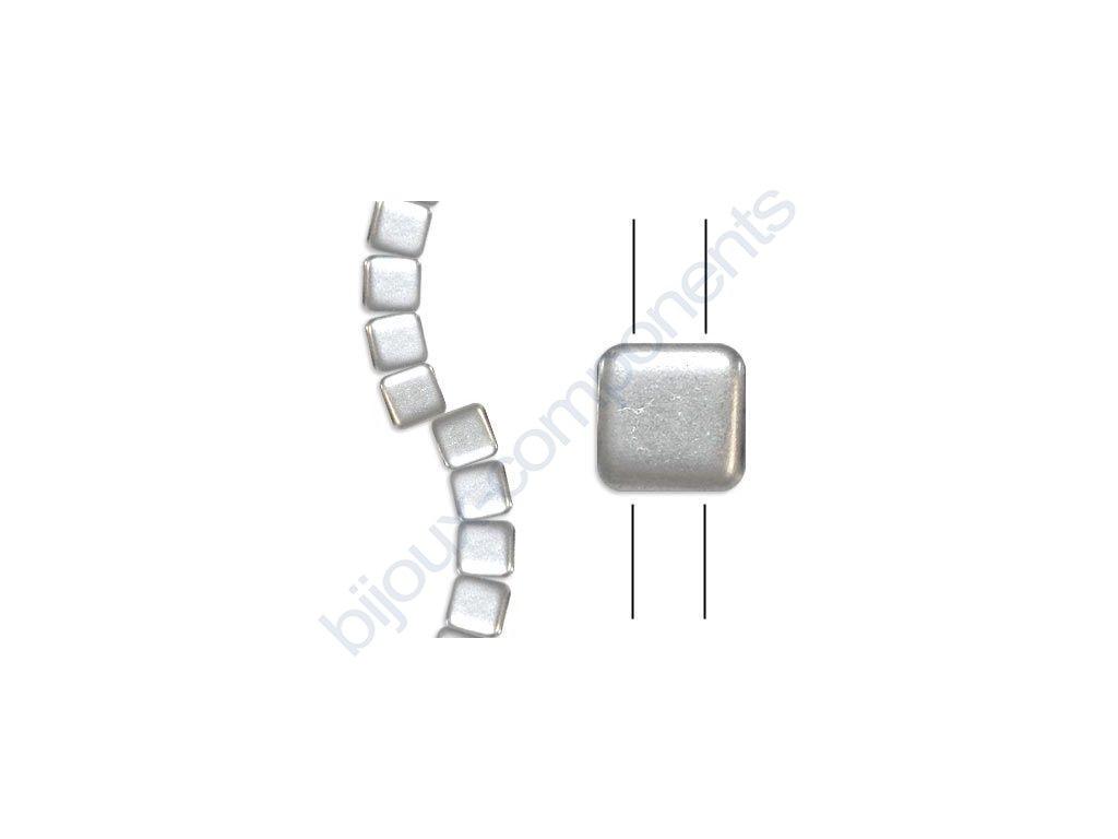 Skleněné korálky mačkané - dvoudírkové čtverečky styl Tile, stříbrné