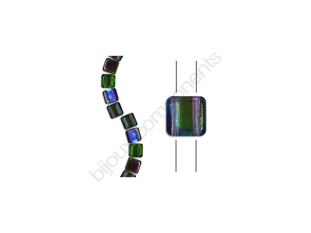 Skleněné korálky mačkané - dvoudírkové čtverečky styl Tile, krystalové/magic fialovo-zelený pokov