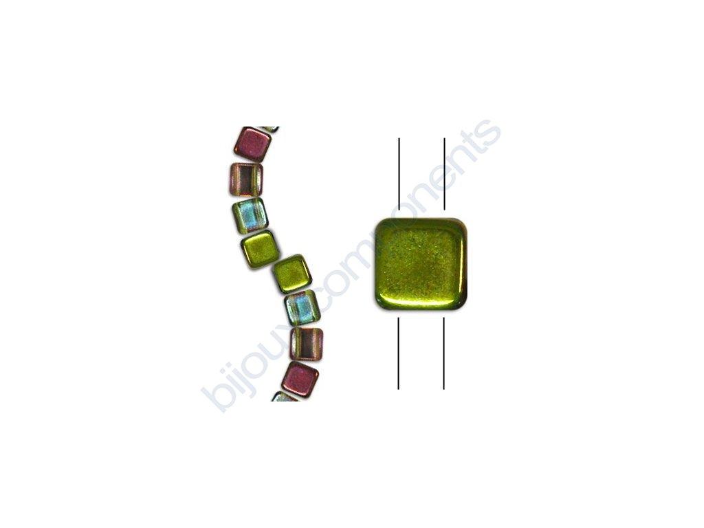 Skleněné korálky mačkané - dvoudírkové čtverečky styl Tile, krystalové/magic žluto-hnědý pokov