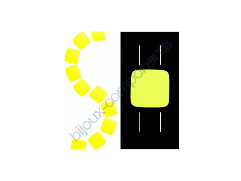 Skleněné neonové korálky s UV efektem mačkané, dvoudírkové čtverečky styl Tile, žluté