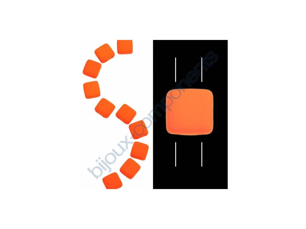 Skleněné neonové korálky s UV efektem mačkané, dvoudírkové čtverečky styl Tile, oranžové