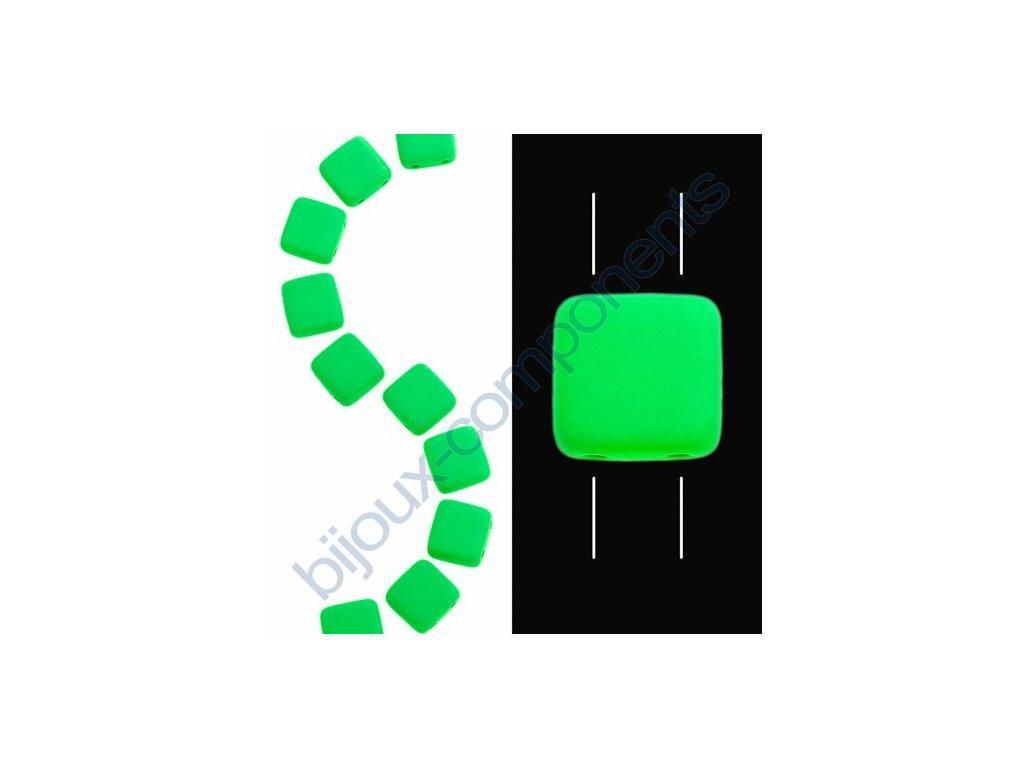 Skleněné neonové korálky s UV efektem mačkané, dvoudírkové čtverečky styl Tile, zelené