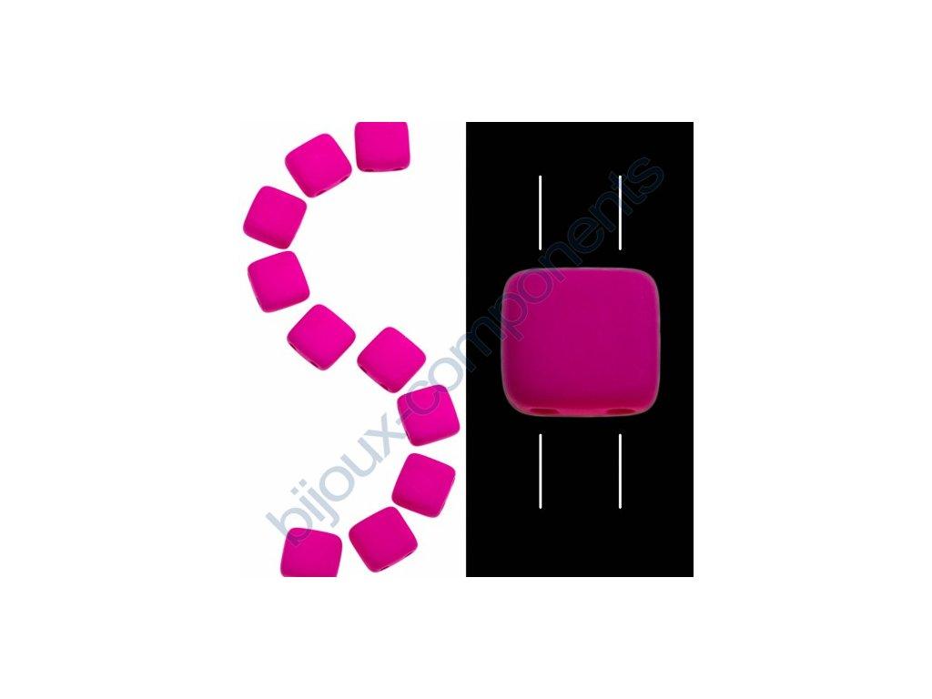 Skleněné neonové korálky s UV efektem mačkané, dvoudírkové čtverečky styl Tile, fialové