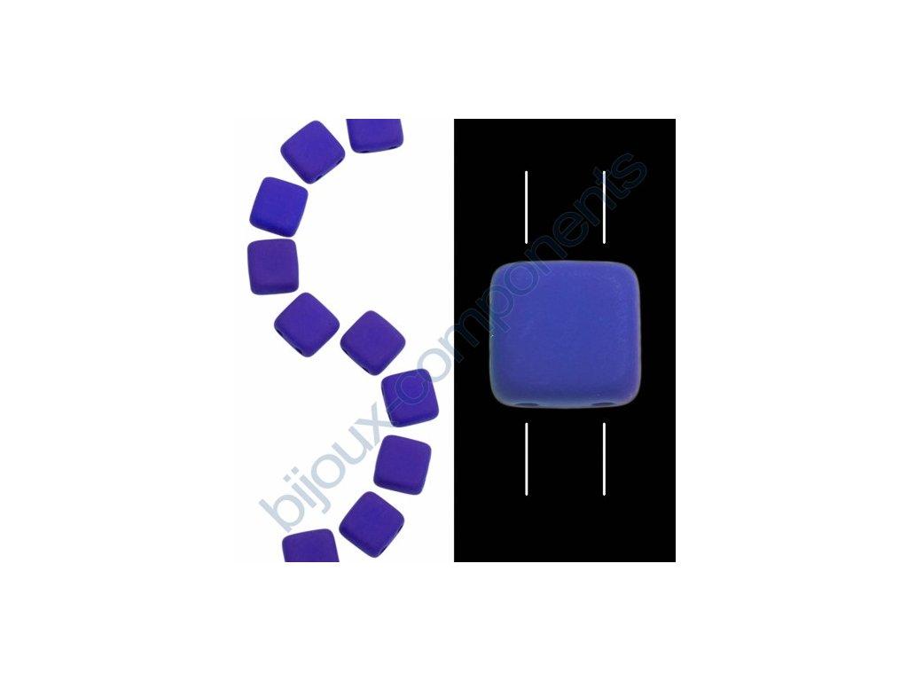 Skleněné neonové korálky s UV efektem mačkané, dvoudírkové čtverečky styl Tile, modro-fialové
