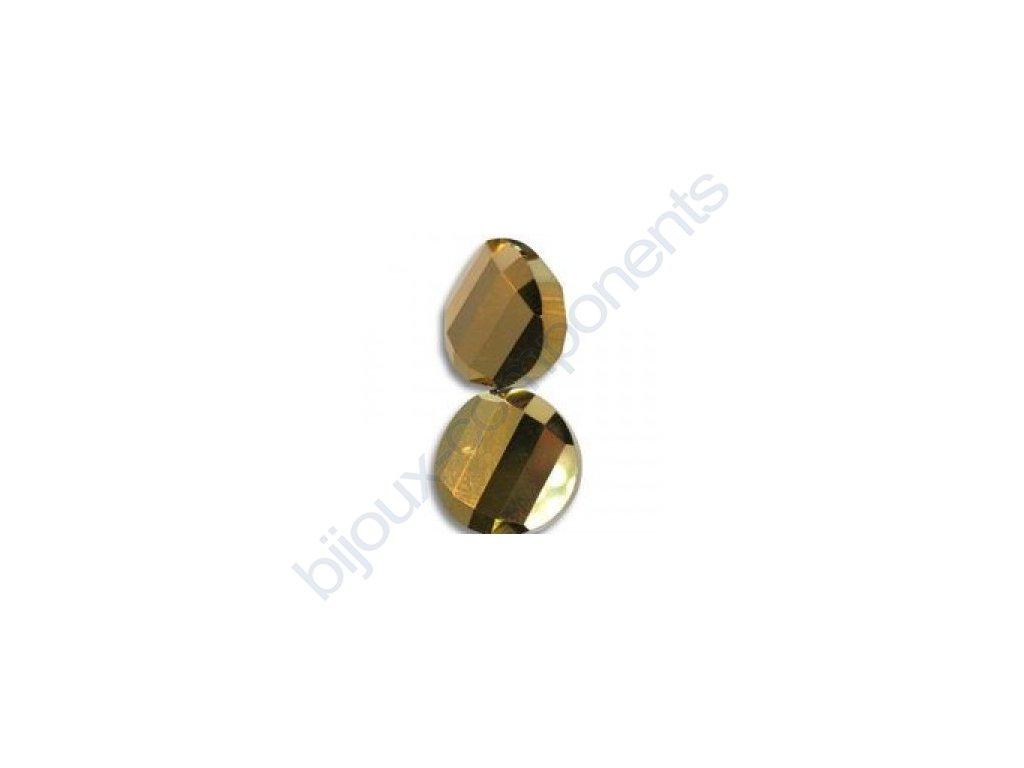 Broušené korálky - twist, bronze