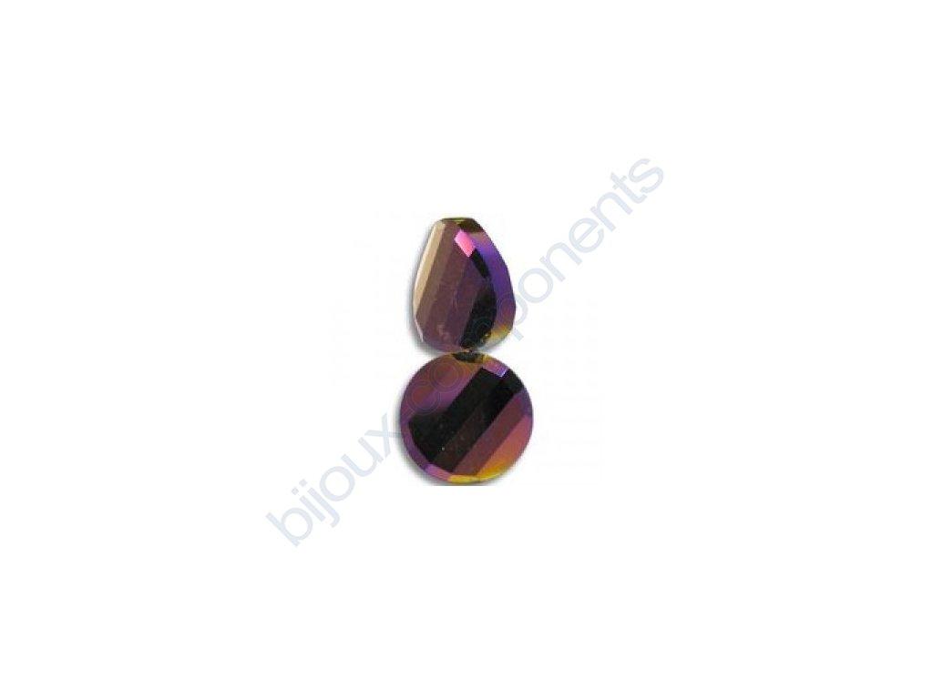 Broušené korálky - twist, purple iris