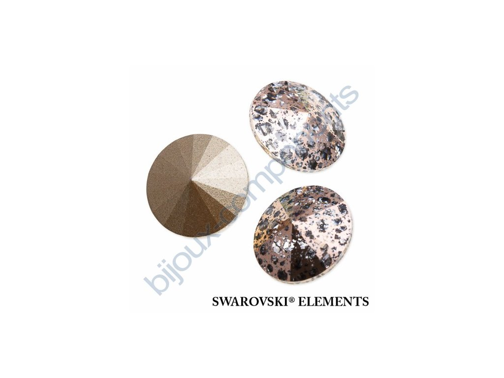 SWAROVSKI ELEMENTS kameny - Rivoli Chaton, crystal rose patina, 14mm