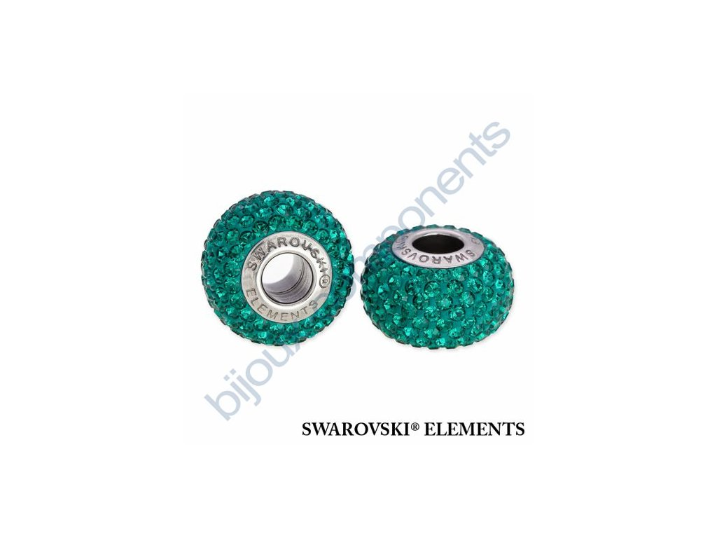 SWAROVSKI ELEMENTS BeCharmed Pavé s xilion šatony - dark green/emerald steel, 14mm