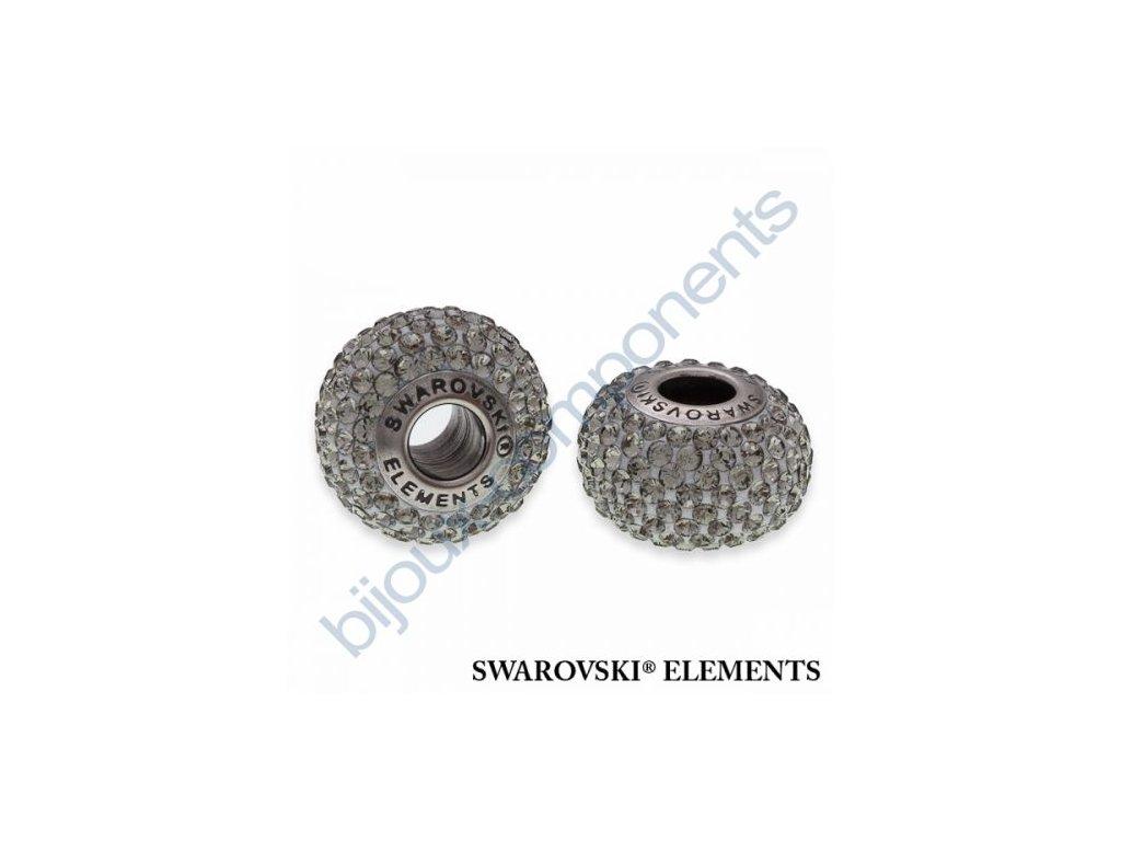 SWAROVSKI ELEMENTS BeCharmed Pavé s xilion šatony - silver/black diamond steel, 14mm