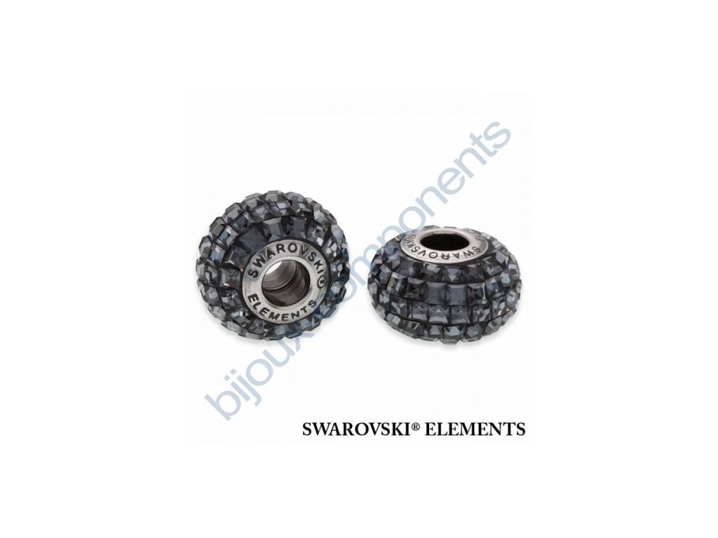 SWAROVSKI ELEMENTS BeCharmed Pavé s xilion square fancy stone - black/crystal silver night steel, 15mm