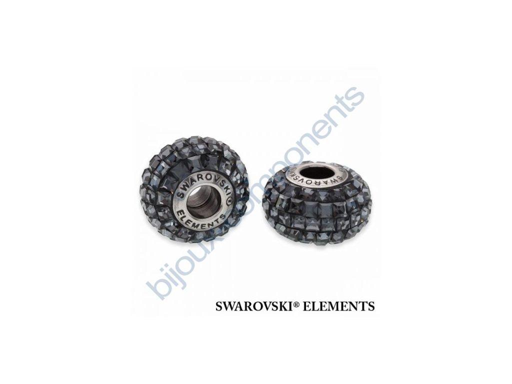 SWAROVSKI ELEMENTS BeCharmed Pavé s xilion square fancy stone - black/crystal silver night steel, 15mm