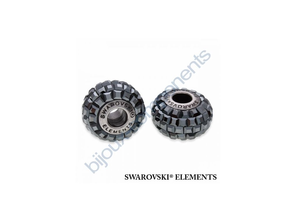 SWAROVSKI ELEMENTS BeCharmed Pavé s xilion square fancy stone - black/jet hematit steel, 15mm