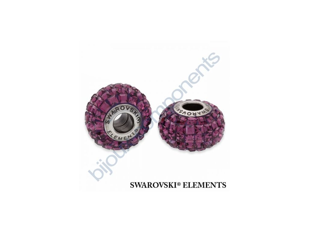 SWAROVSKI ELEMENTS BeCharmed Pavé s xilion square fancy stone - dark lila/amethyst steel, 15mm