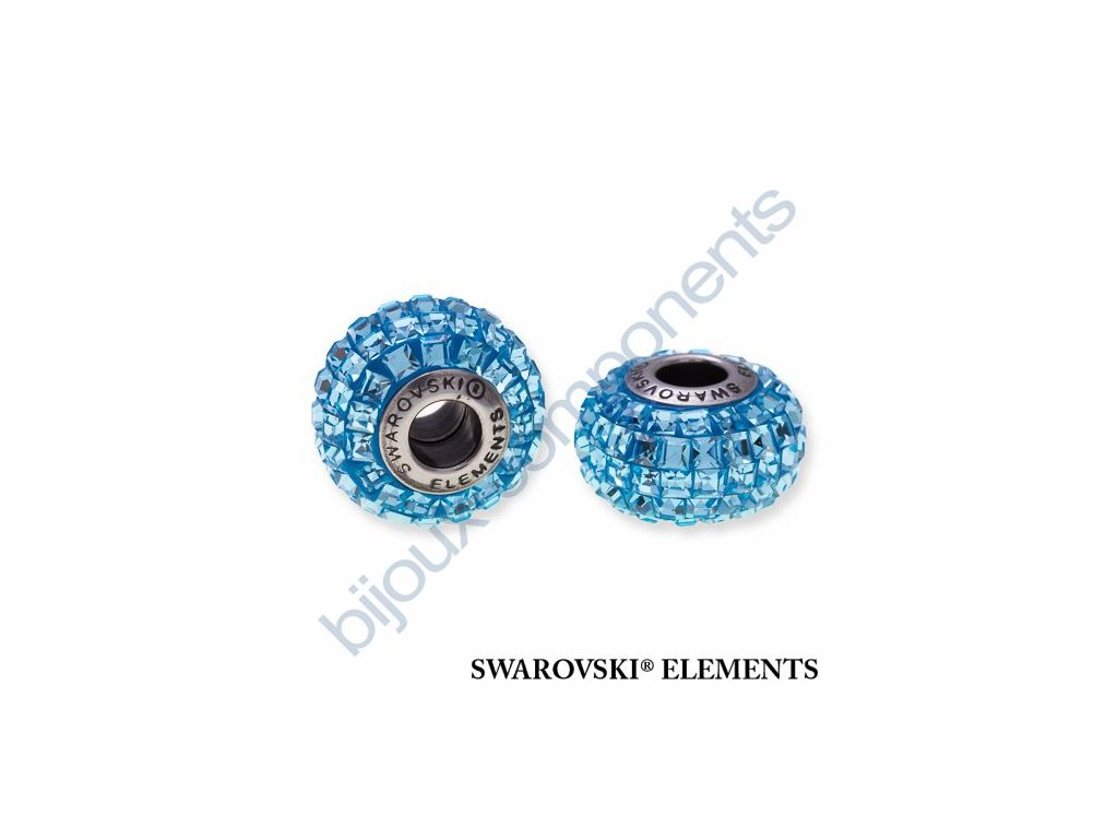 SWAROVSKI ELEMENTS BeCharmed Pavé s xilion square fancy stone - light blue/aquamarine steel, 15mm