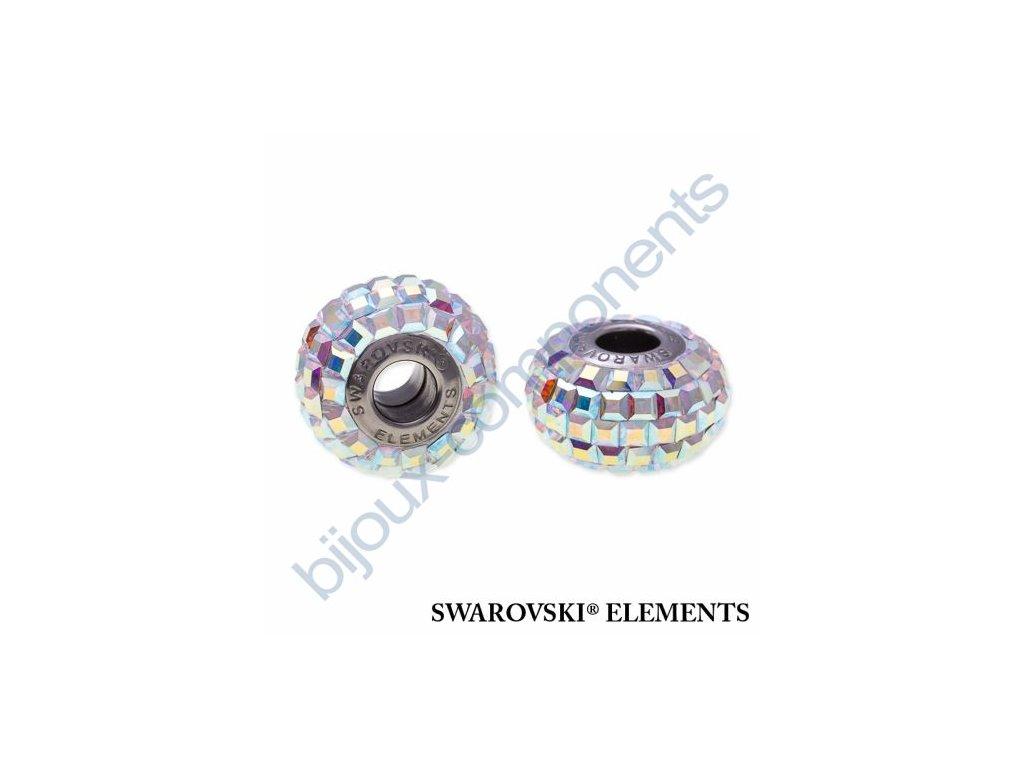 SWAROVSKI ELEMENTS BeCharmed Pavé s xilion square fancy stone - white/crystal AB steel, 15mm