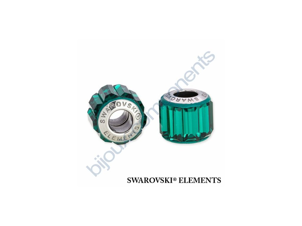 SWAROVSKI ELEMENTS BeCharmed Pavé s baguette fancy stone - dark green/emerald steel, 10,5mm
