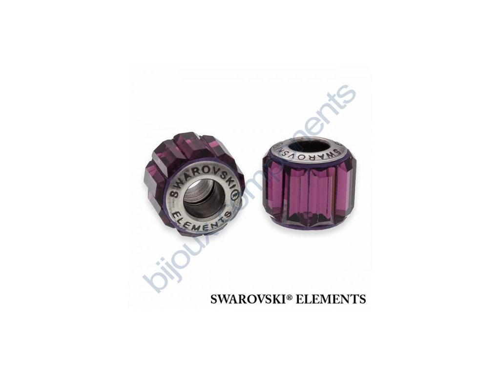 SWAROVSKI ELEMENTS BeCharmed Pavé s baguette fancy stone - dark lila/amethyst steel, 10,5mm