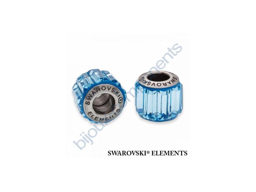 SWAROVSKI ELEMENTS BeCharmed Pavé s baguette fancy stone - light blue/aquamarine steel, 10,5mm