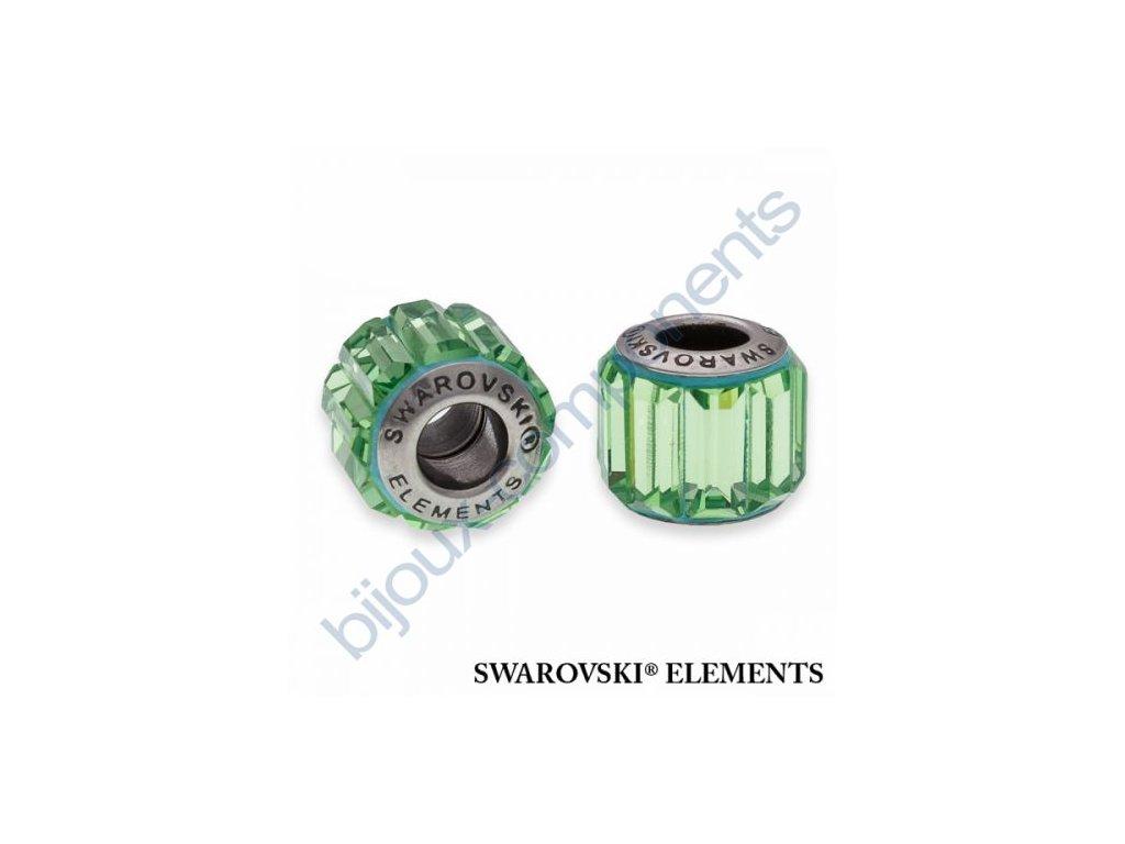 SWAROVSKI ELEMENTS BeCharmed Pavé s baguette fancy stone - light green/peridot steel, 10,5mm