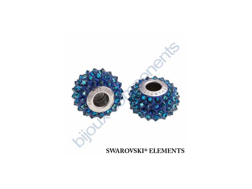 SWAROVSKI ELEMENTS BeCharmed Pavé spikes - dark blue/crystal bermuda blue steel, 16mm