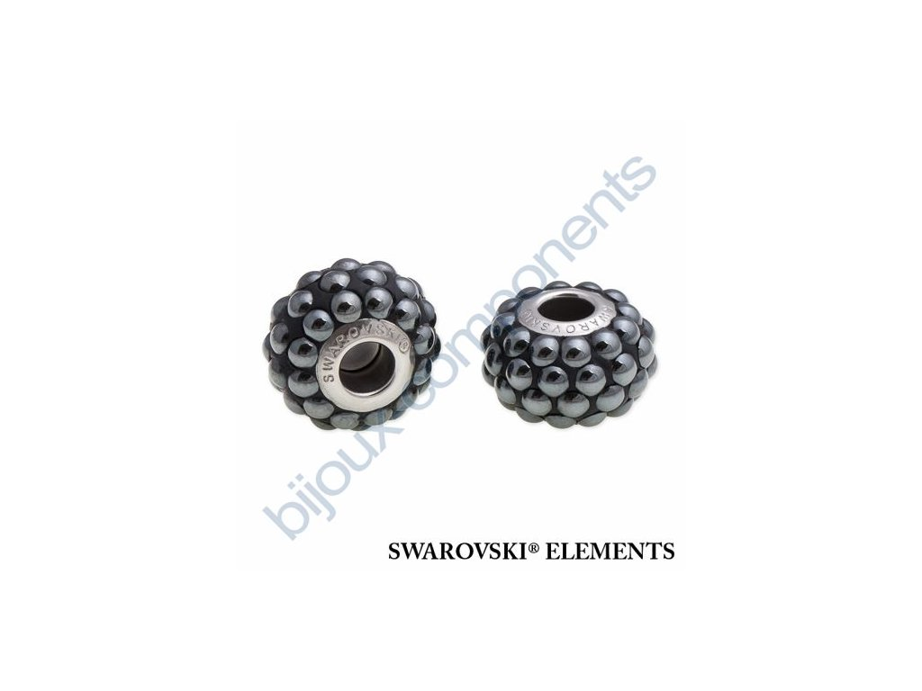 SWAROVSKI ELEMENTS BeCharmed Pavé cabochon - black/jet hematit steel, 15,5mm