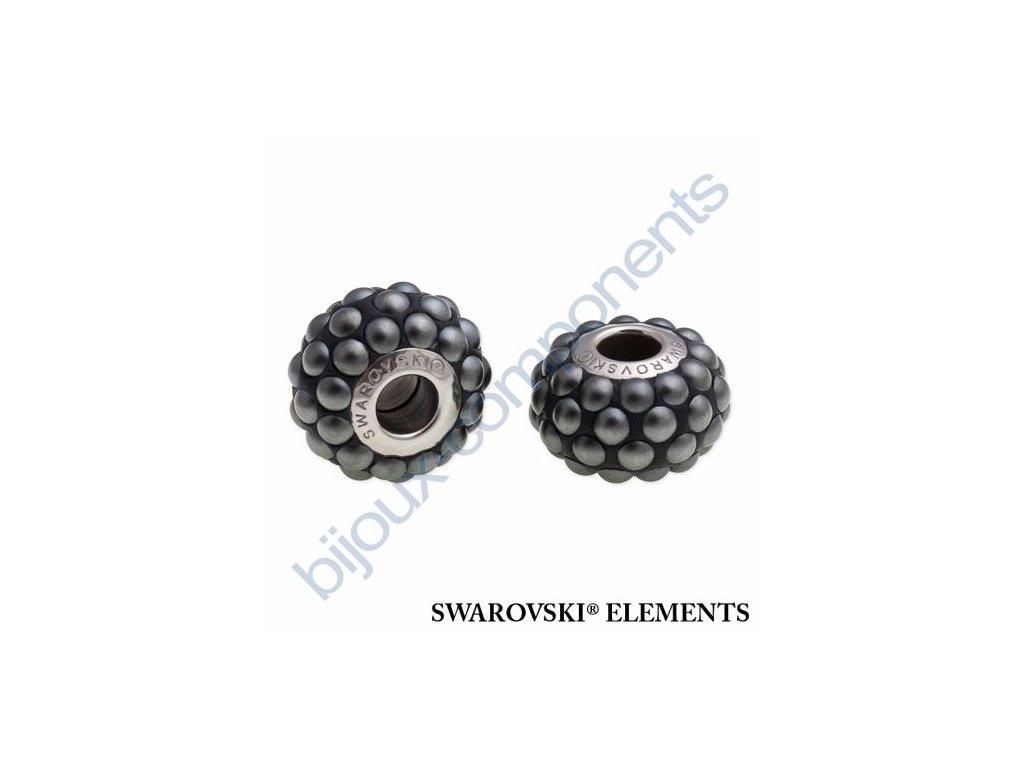 SWAROVSKI ELEMENTS BeCharmed Pavé cabochon - black/jet hematit matt finish steel, 15,5mm