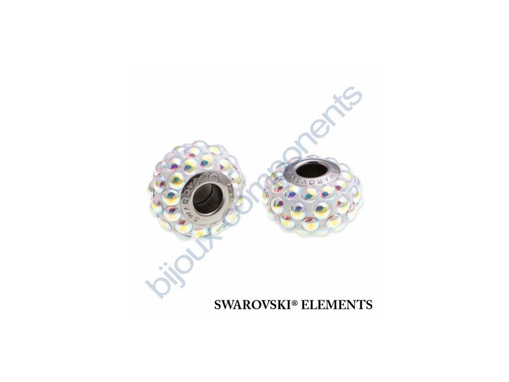 SWAROVSKI ELEMENTS BeCharmed Pavé cabochon - white/crystal AB steel, 15,5mm