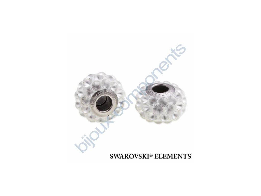 SWAROVSKI ELEMENTS BeCharmed Pavé cabochon - white/crystal matt finish steel, 15,5mm