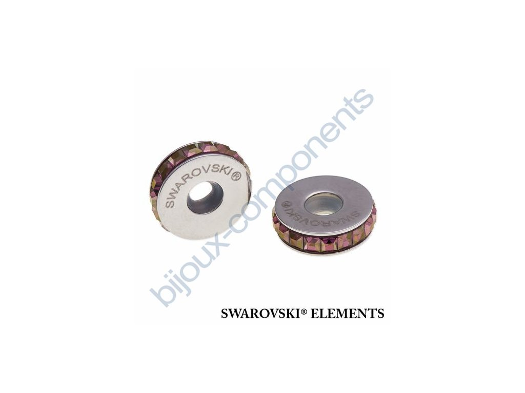 SWAROVSKI ELEMENTS BeCharmed Pavé Stopper s xilion square fancy stone - burgundy/crystal lilac shadow steel, 13mm
