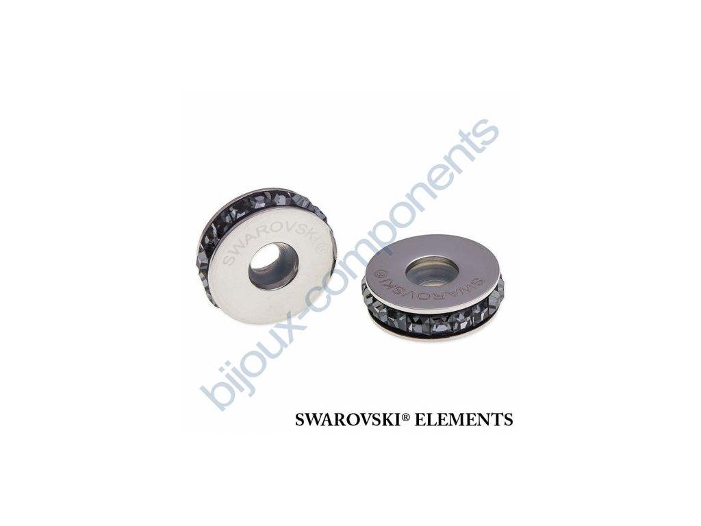 SWAROVSKI ELEMENTS BeCharmed Pavé Stopper s xilion square fancy stone - black/crystal silver night steel, 13mm
