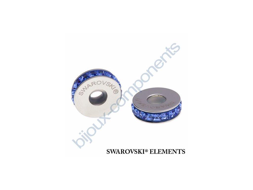 SWAROVSKI ELEMENTS BeCharmed Pavé Stopper s xilion square fancy stone - dark blue/sapphire steel, 13mm