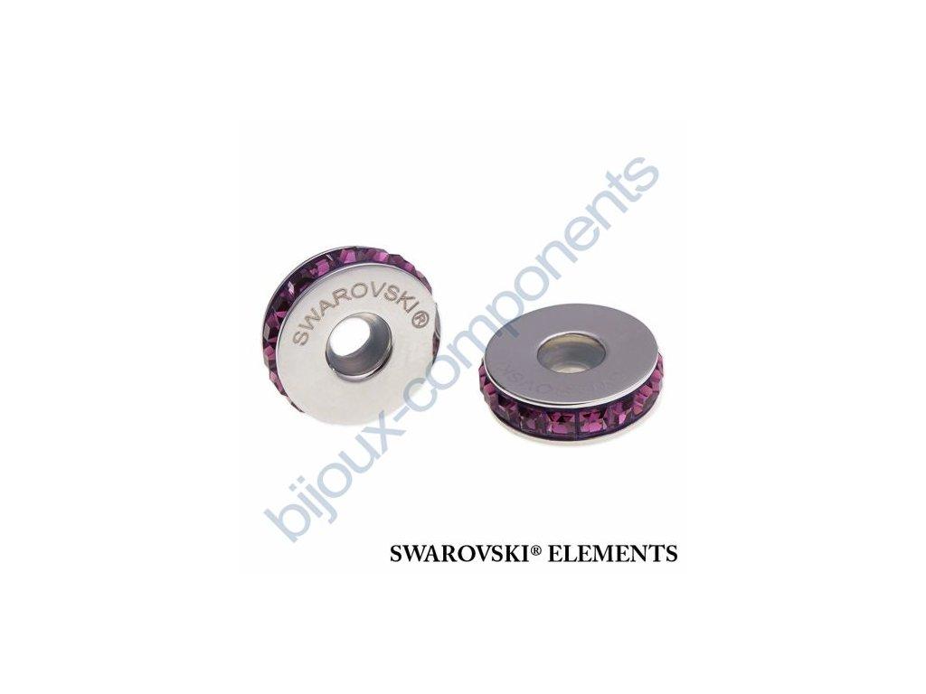 SWAROVSKI ELEMENTS BeCharmed Pavé Stopper s xilion square fancy stone - dark lila/amethyst steel, 13mm
