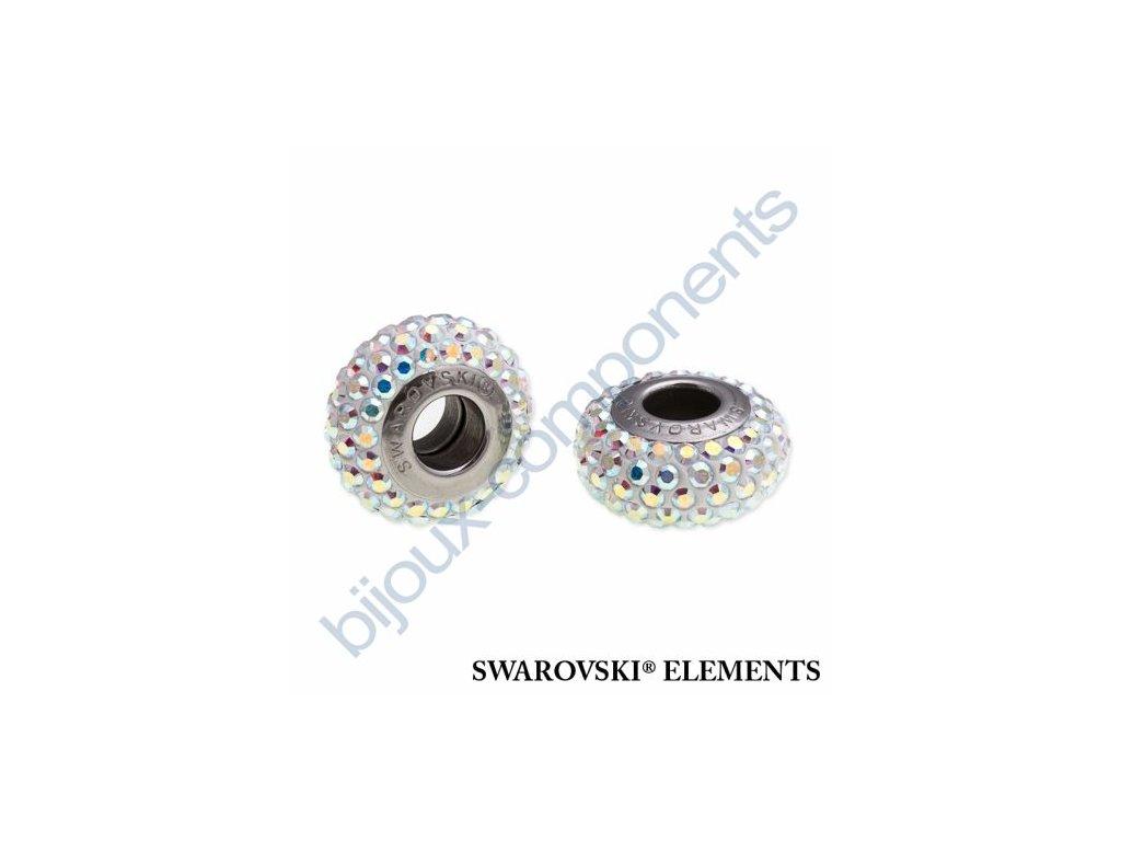 SWAROVSKI ELEMENTS BeCharmed Pavé slim - white/crystal AB steel, 13,5mm