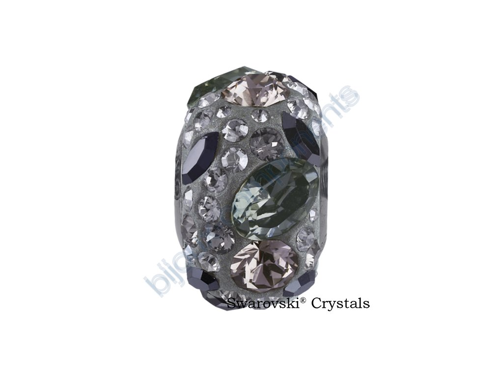 SWAROVSKI CRYSTALS BeCharmed Pavé - grey/black diamond, jet hematite, crystal silver shade, greige, steel, 15mm