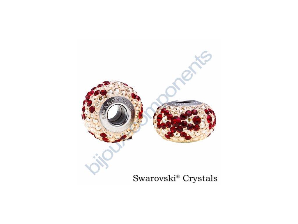 SWAROVSKI CRYSTALS BeCharmed Pavé Den matek - pearl silk/siam, crystal gold.shadow, steel, 14mm