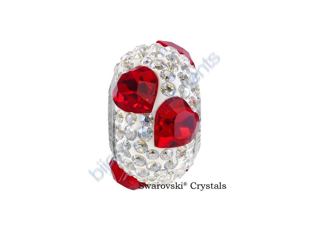 SWAROVSKI CRYSTALS BeCharmed Pavé - white/light siam, crystal moonlight, steel, 15,5mm