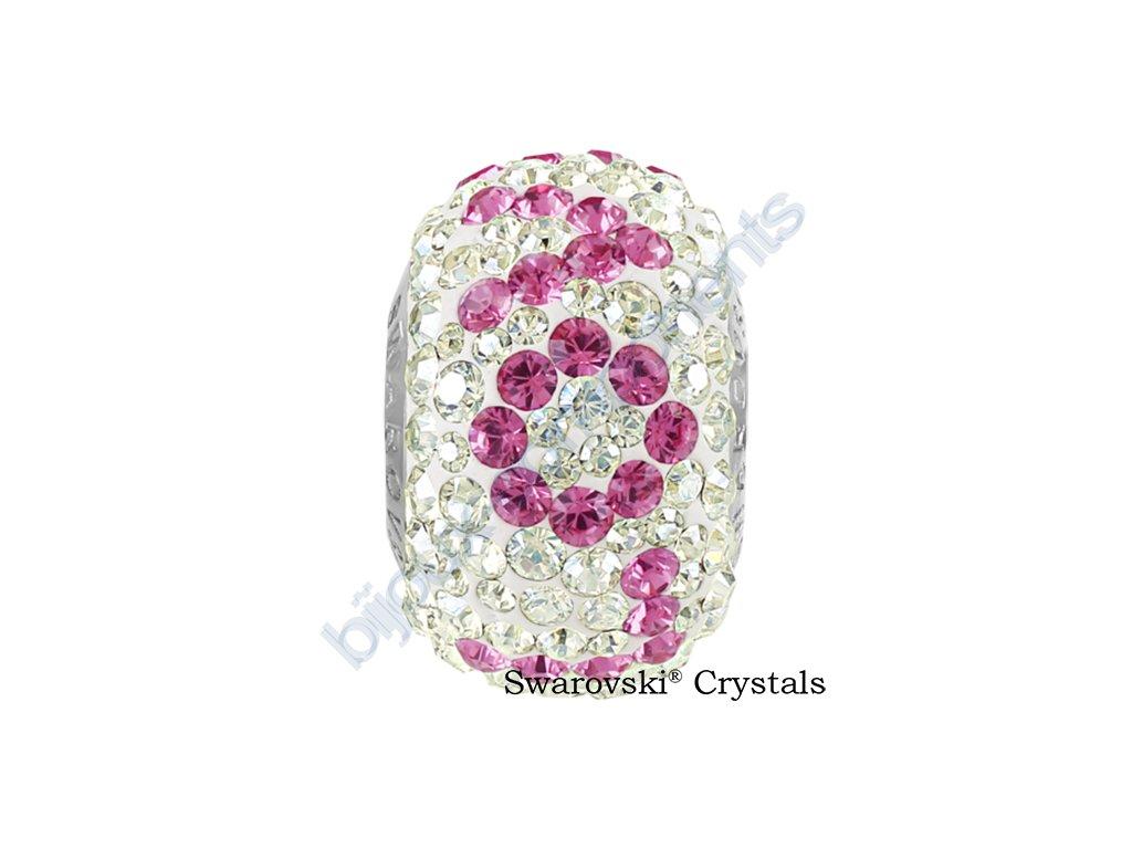 SWAROVSKI CRYSTALS BeCharmed Pavé - white/crystal moonlight, rose, steel, 14,5mm