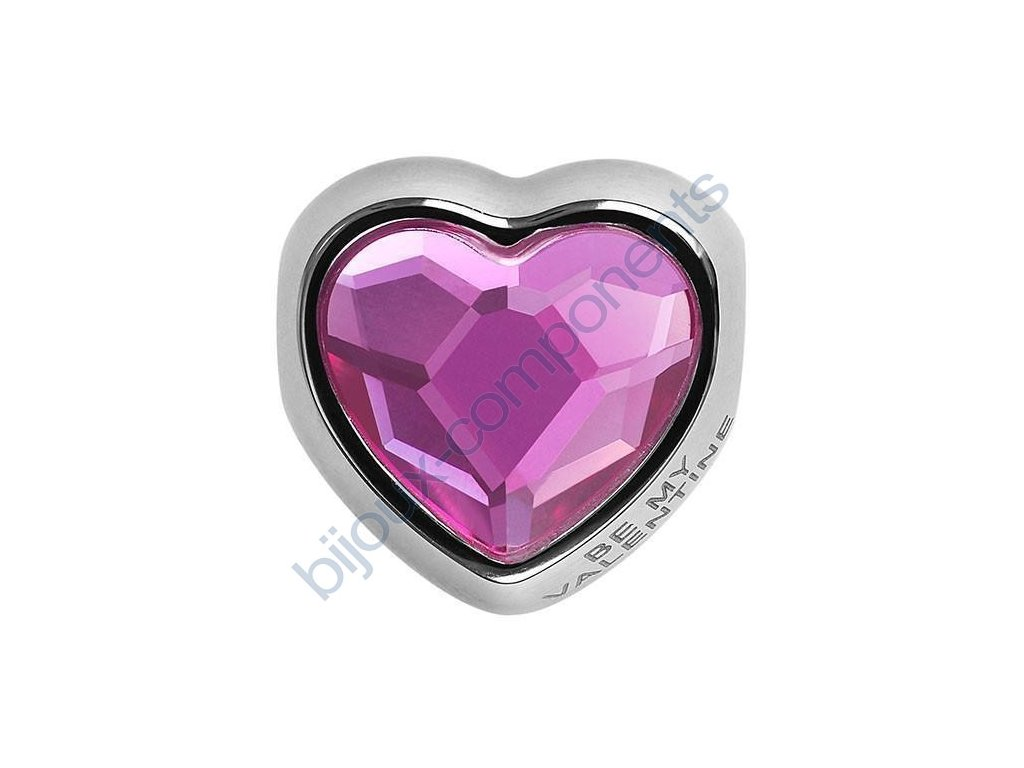 SWAROVSKI CRYSTALS BeCharmed Heart Bead - fuchsia, 14mm