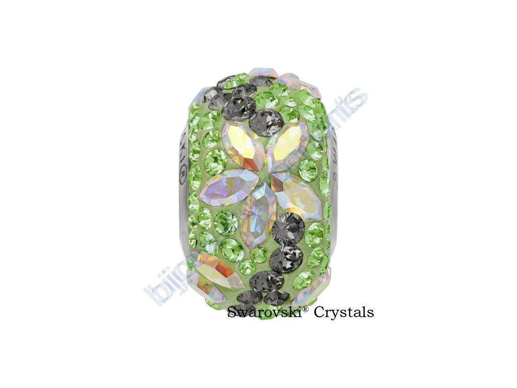 SWAROVSKI CRYSTALS BeCharmed Pavé - peridot/crystal AB, black diamond, peridot, steel, 15mm