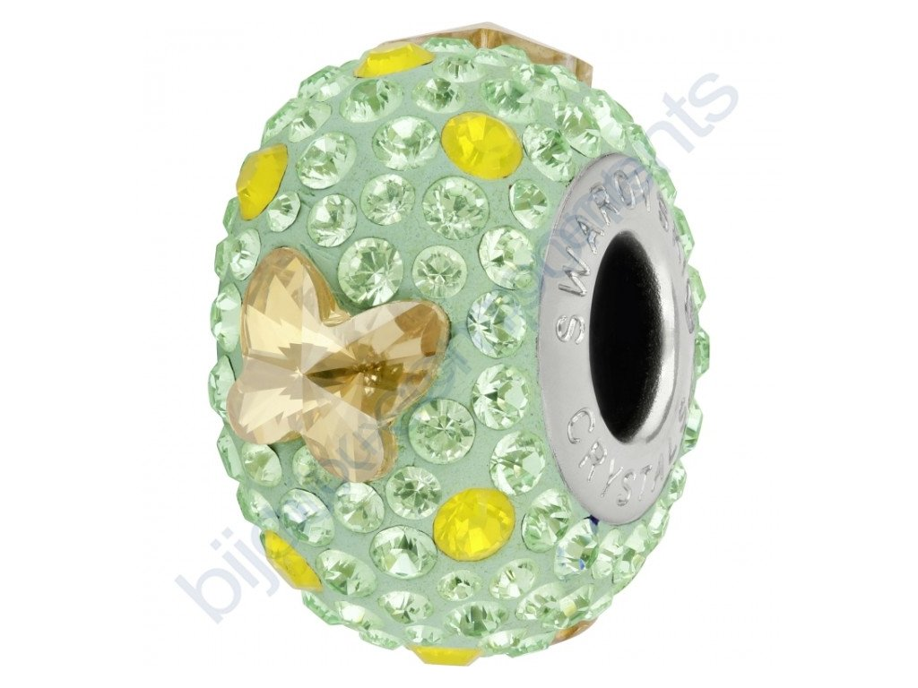 SWAROVSKI CRYSTALS BeCharmed Pavé - mint/crystal golden shadow, yellow opal, chrysolite, steel, 14mm