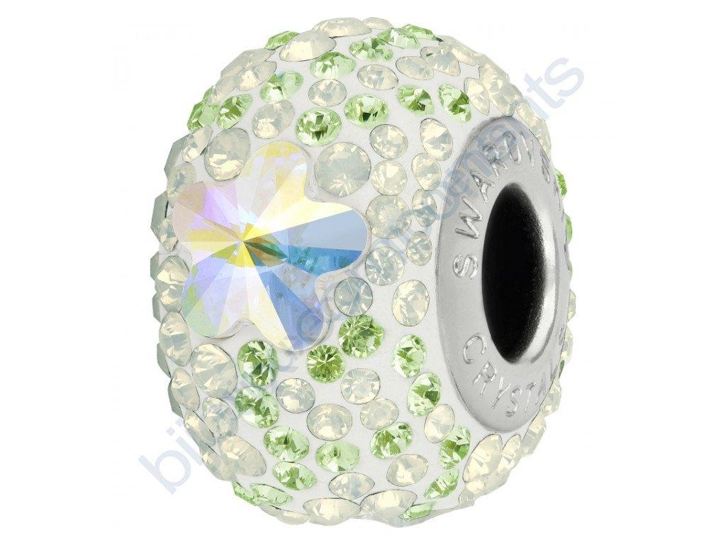 SWAROVSKI CRYSTALS BeCharmed Pavé - white/crystal AB, peridot, white opal, steel, 14mm