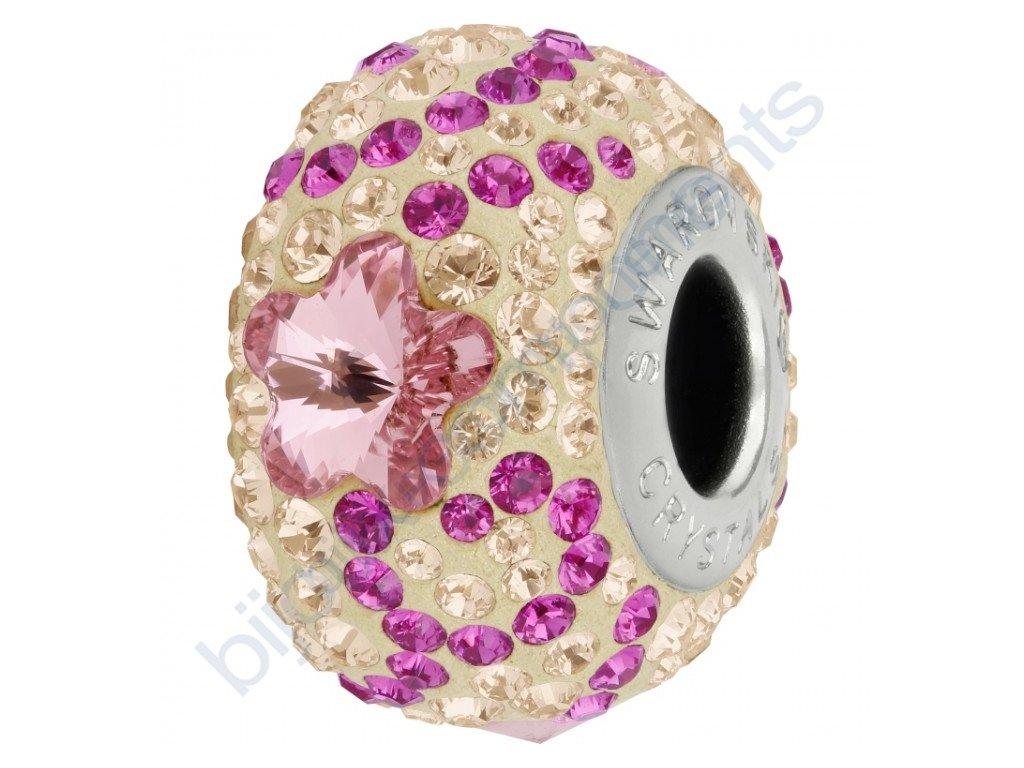 SWAROVSKI CRYSTALS BeCharmed Pavé - pearl silk/light rose, fuchsia, silk, steel, 14mm